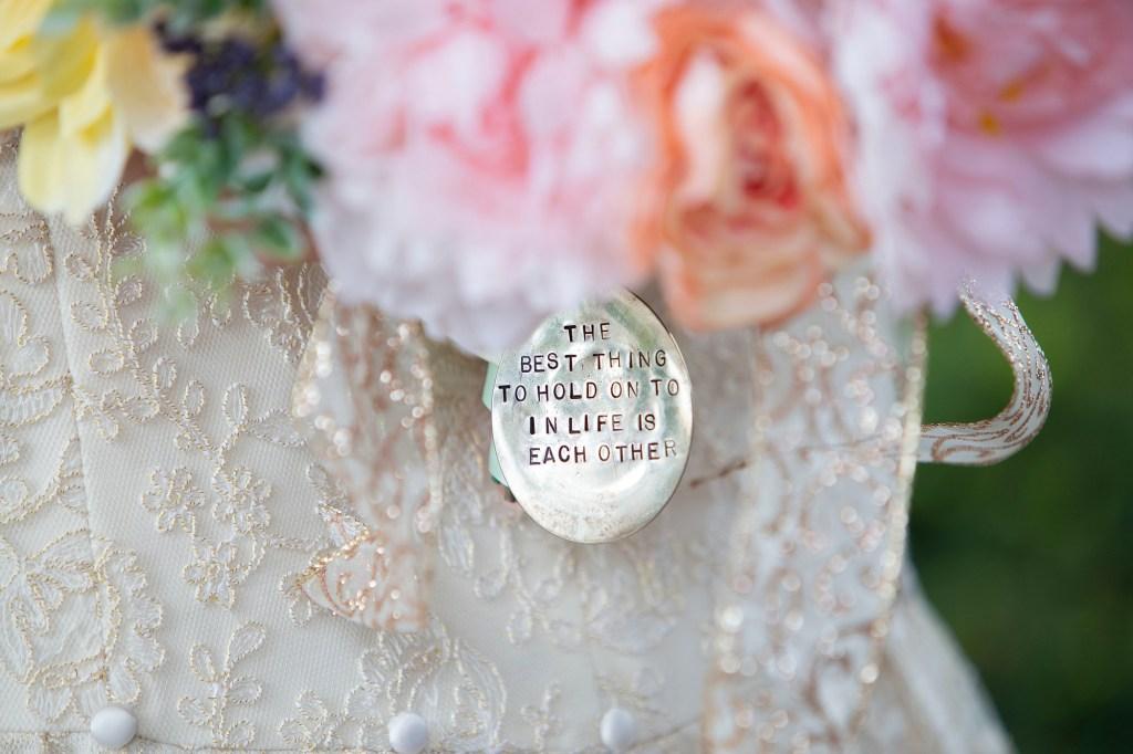 Charm on bride's bouquet