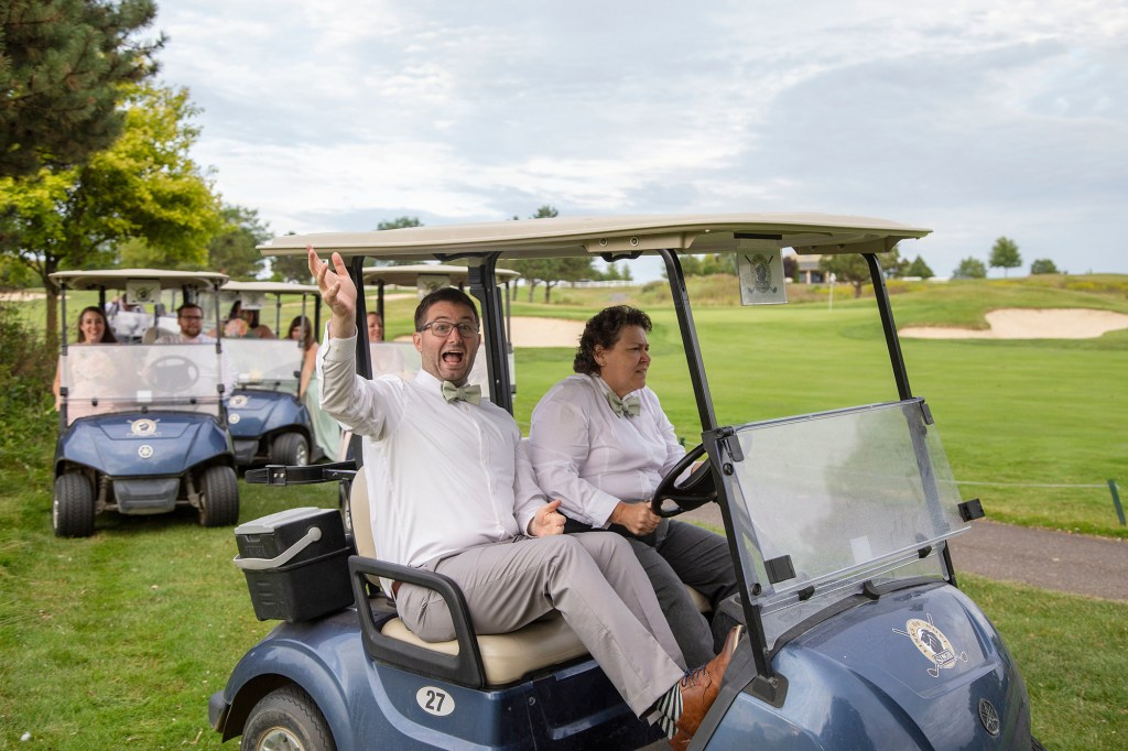 Crazy drivers on the golf course at the Links of Novi