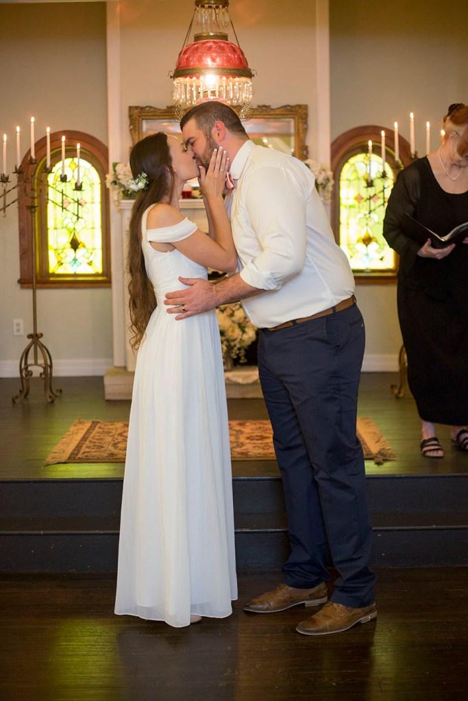 First kiss at Celebrations Wedding Chapel