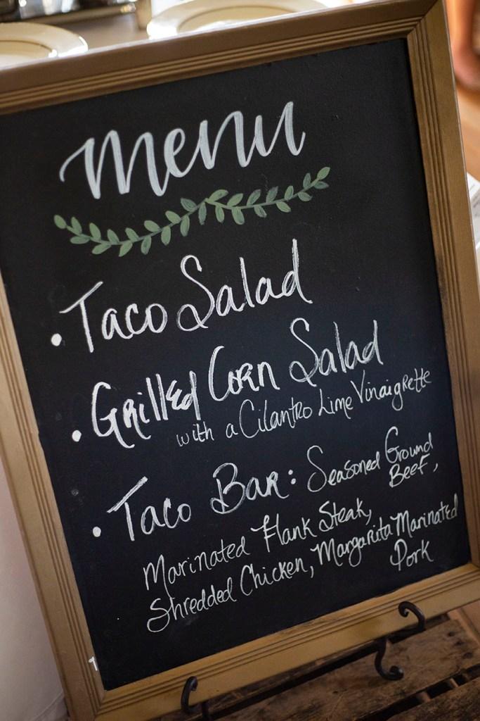Taco bar chalkboard menu