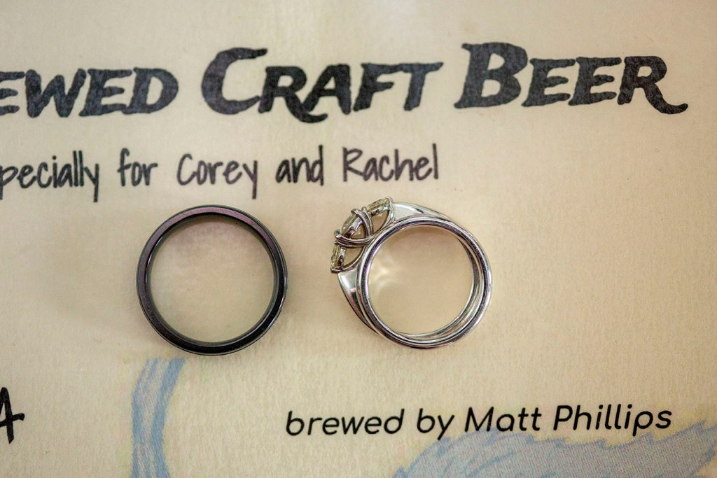 Custom brewed craft beer for wedding with rings