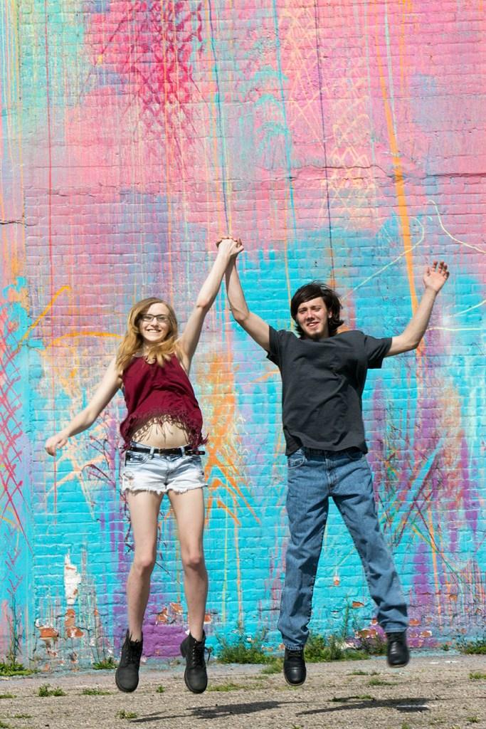 Michigan couple jumps for joy during Detroit engagement
