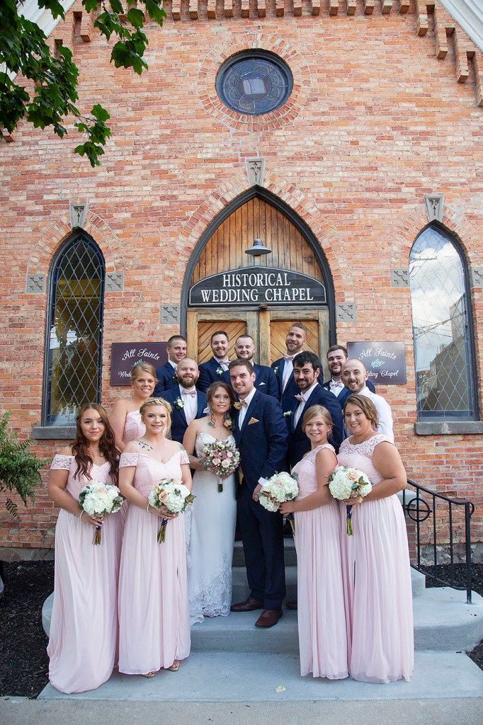 Full wedding party after the downtown Howell wedding