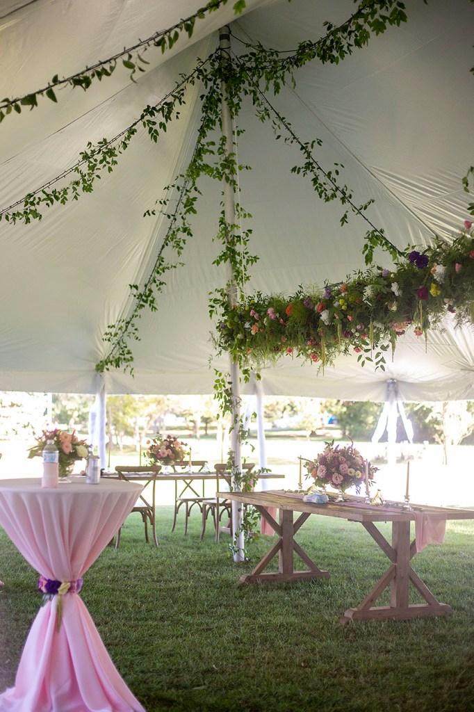 Tent decor and florals