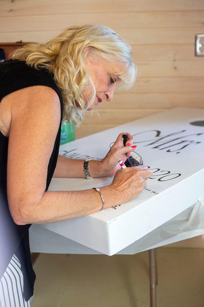 Guest signing custom cornhole board