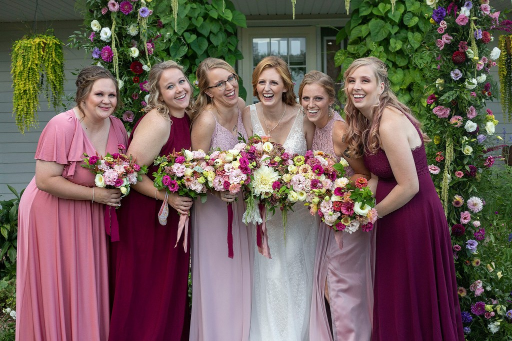 Maroon and blush bridesmaids dresses