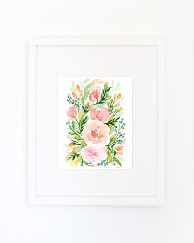 watercolor floral wall art print