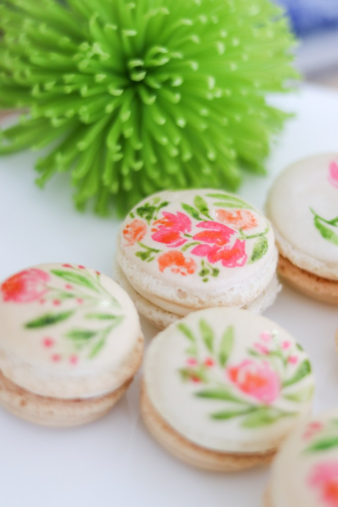 DIY watercolor floral painted French macarons