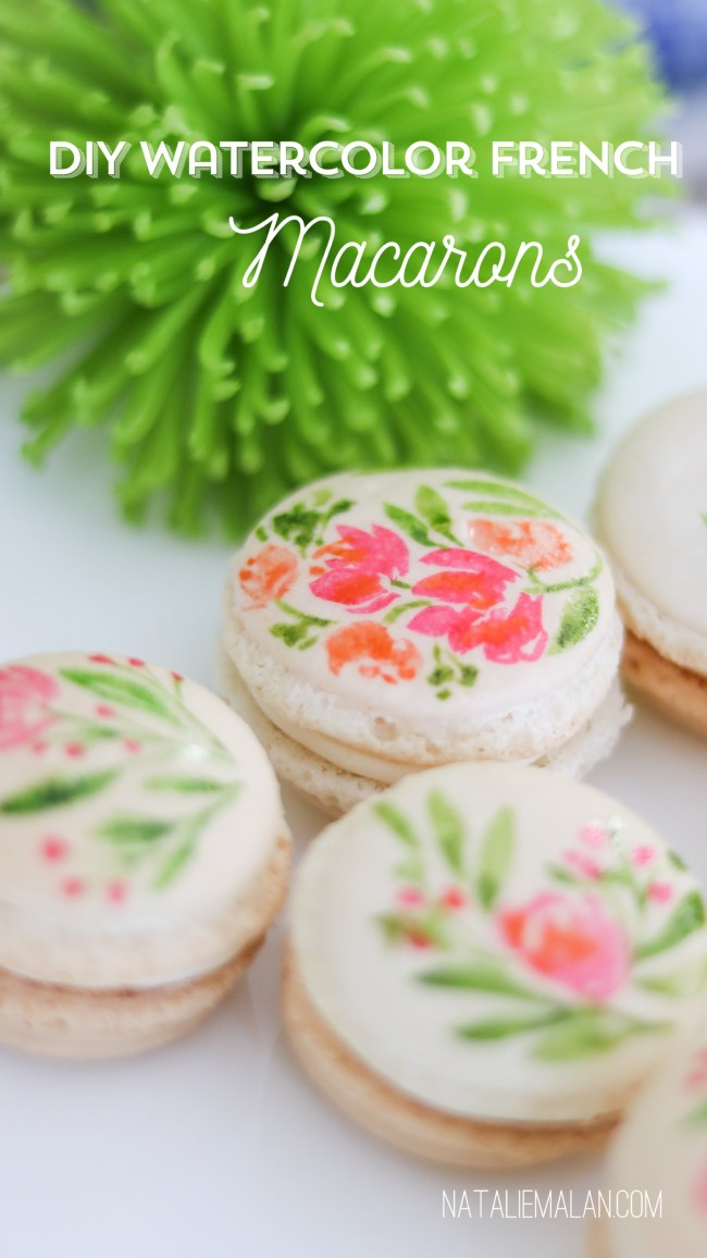 DIY watercolor florals French macarons