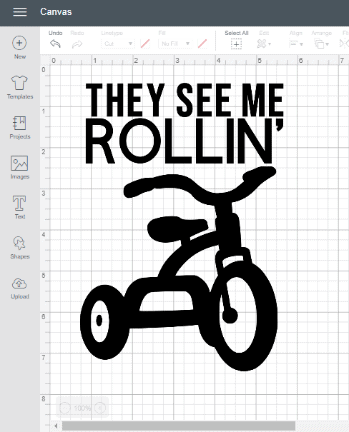 """A screenshot in Cricut Design Space of a custom t-shirt with """"They See Me Rollin'"""" text and tricycle image"""