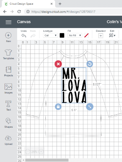 "Cricut Design Space screen shot with ""Mr. Lova Lova"" text on a youth baseball t-shirt"
