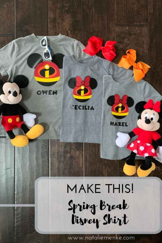 How to make Incredibles Mickey Mouse Disney shirts using the Cricut tutorial at www.nataliemenke.com