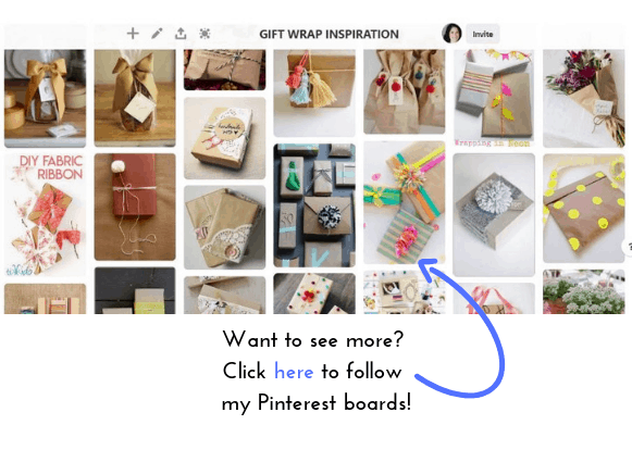 Stay on top of the latest trends in gift wrapping by following Natalie Menke's GIFT WRAP INSPIRATION board on Pinterest. (Click on the image here).