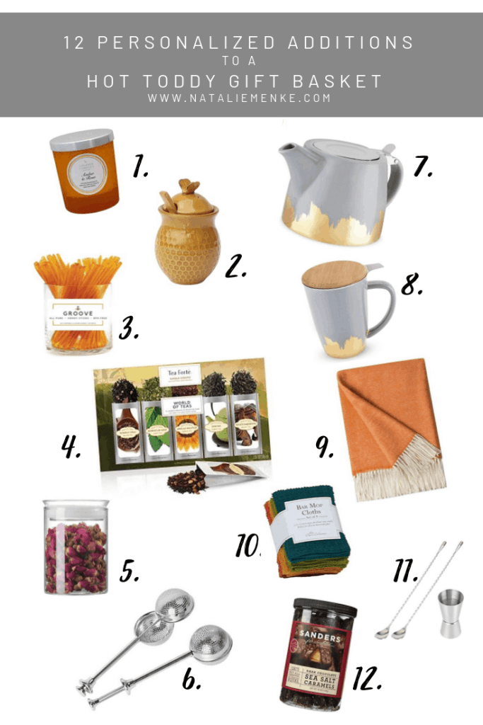 12 personalized additions to a hot toddy housewarming gift basket