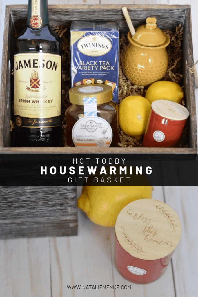 hot toddy gift basket with Jameson whiskey, honey, lemons, tea and 'bless this home' candle