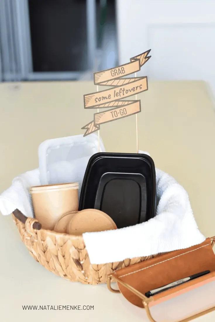 Leftover station hostess gift basket with free sign download by Natalie Menke