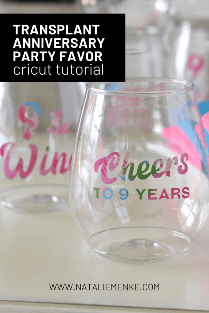"""wine glass with the words """"Cheers to 9 Years!"""""""