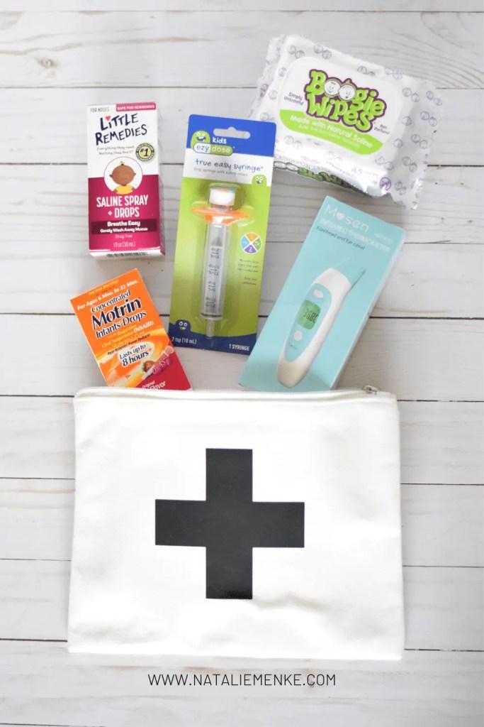 Canva medical bag with infant cold medicine supplies
