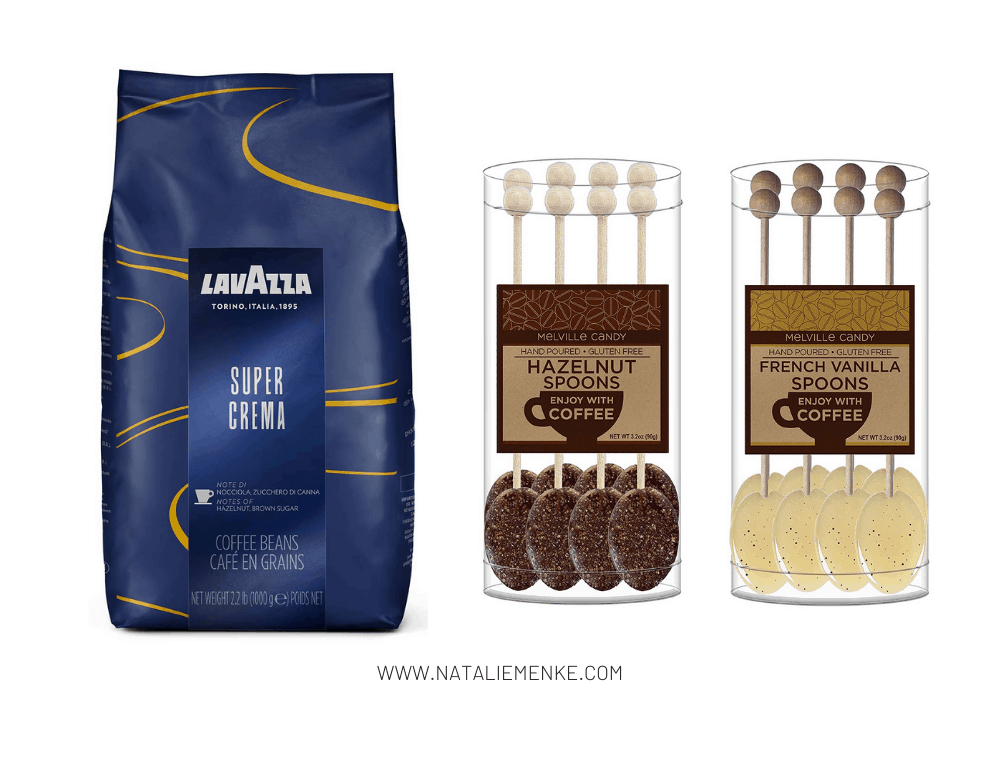bag of LavAzza coffee, hazelnut coffee spoons and french vanilla coffee spoons