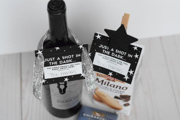 "Make this ""Shot in the Dark"" Chocolate Gift with My Free Gift Tag Printable"