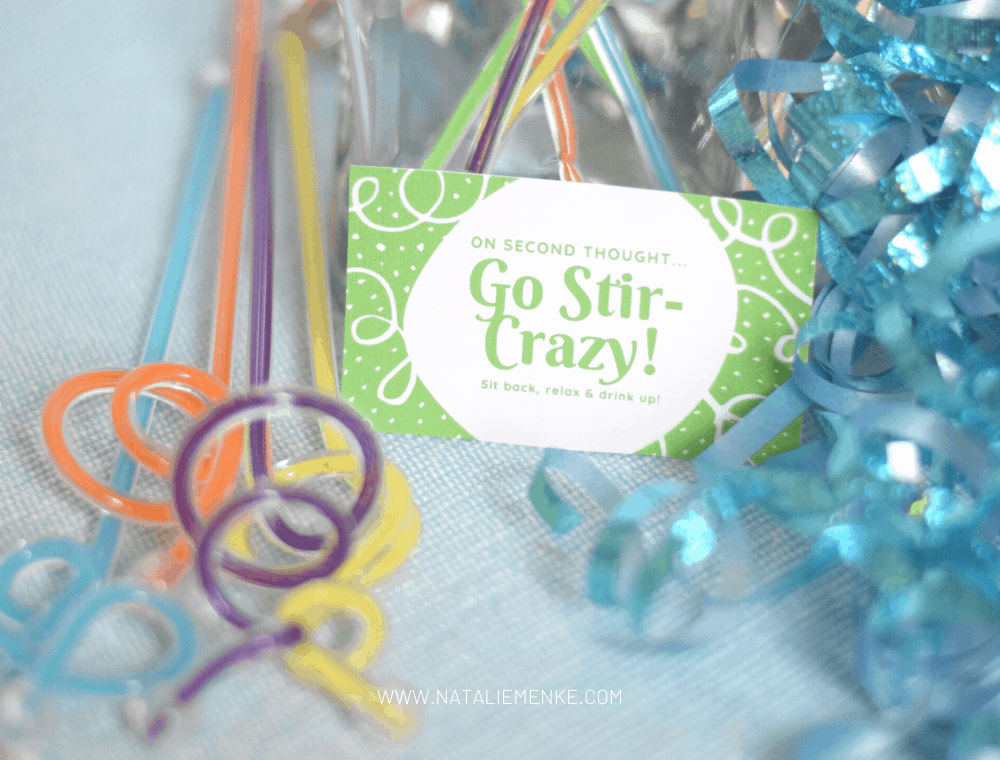 Stir crazy gift tag with swizzle sticks and ribbon