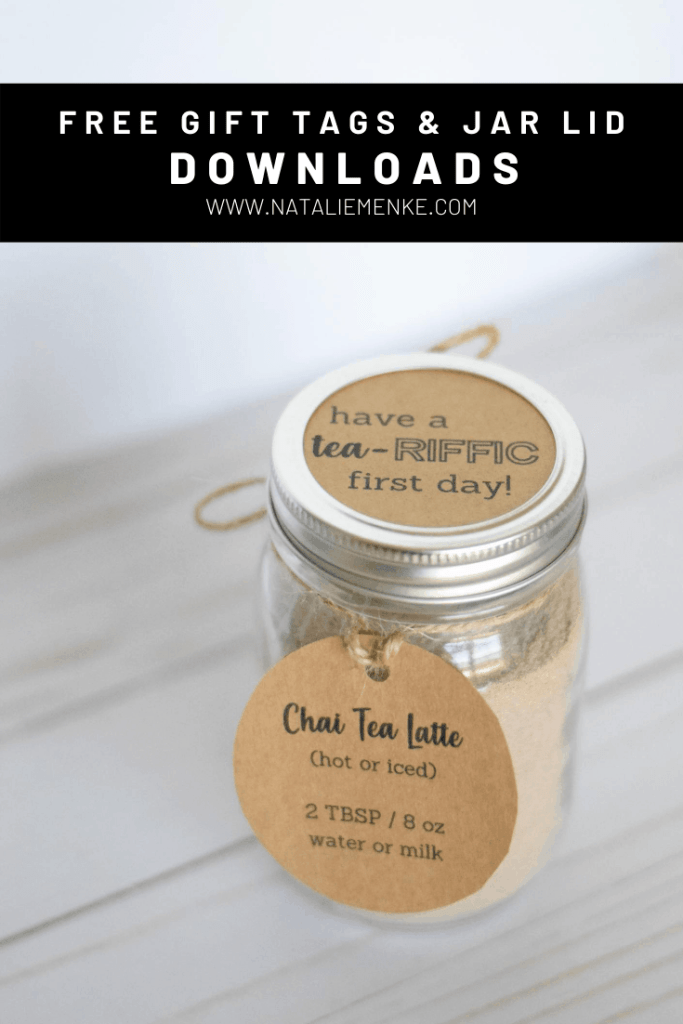chai tea latte mason jar gift with gift tag and 'tea-riffic' lid cover