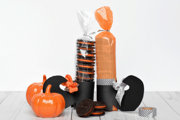 Halloween Oreo treats made to look like witch's stockings and shoes