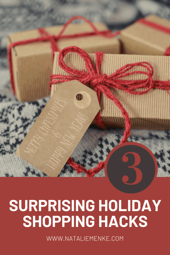 """Christmas gift with the words """"3 surprising holiday shopping hacks"""""""