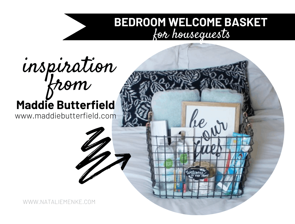 houseguest bedroom welcome basket with towels, water and toothpaste