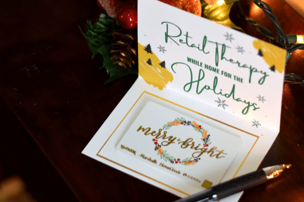 'Retail Therapy' Free Printable Gift Card Holder for Christmas
