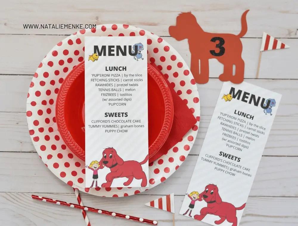 Clifford the Big Red Dog birthday party menu printable