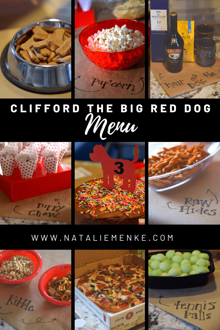 Clifford the Big Red Dog birthday party menu
