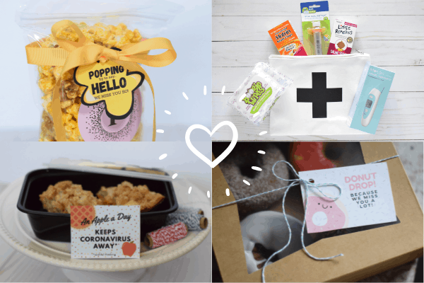 popcorn gift, care package gift, an apple a day gift and donut drop gift for quarantine