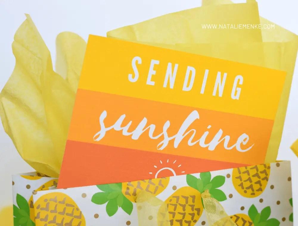 """""""Sending Sunshine"""" notecard printables for a Little Bag of Sunshine gift"""