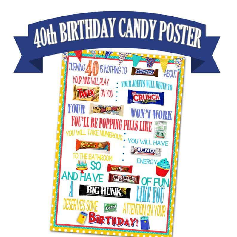 40th birthday candy poster by Paper Tagged