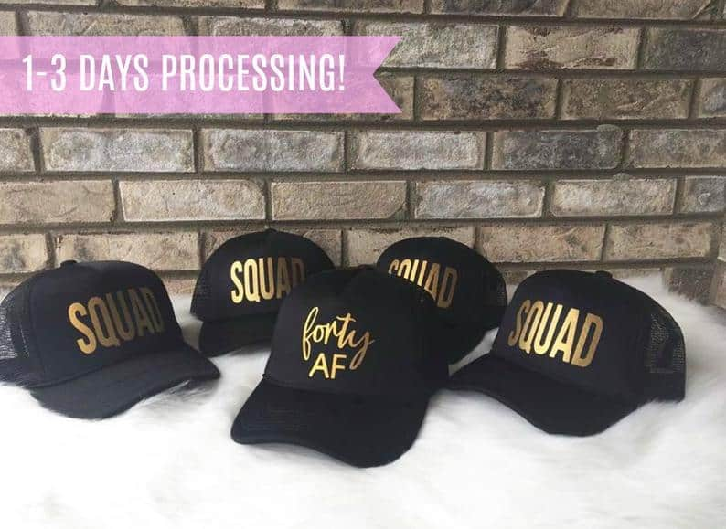 NINETYTHIRD 'forty AF' 40th birthday squad hats