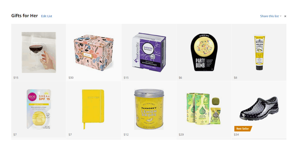 Screenshot of Gifts for Her at an Amazon Storefront