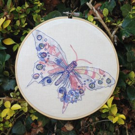 freehand machine embroidery, ncsrandalltextiles, Natalie Randall, pastel colours, floral