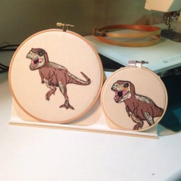 dinosaurs, machine embroidery, dinosaur embroidery, textile art dinosaur