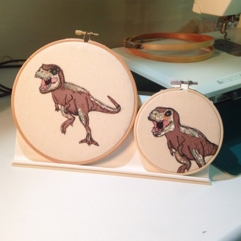 dinosaurs, machine embroidery, dinosaur embroidery, textile art dinosaur