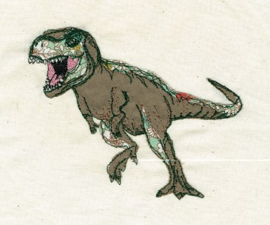 dinosaurs art work wall haning embroidery machine embroidery freestyle art work limited edition