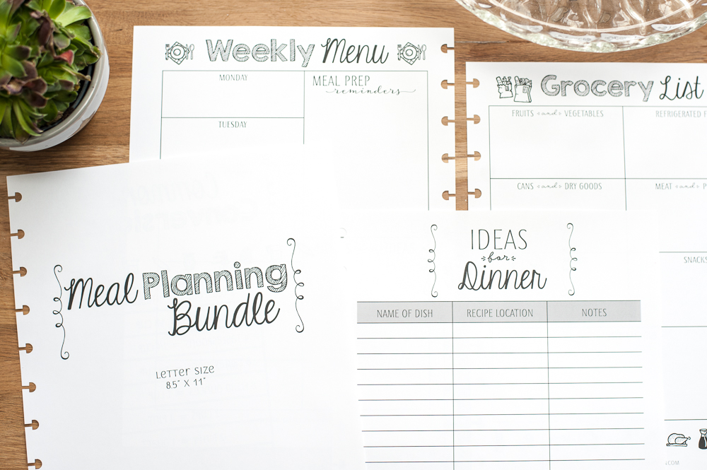 The Meal Planning Bundle Is Newly Redesigned With Some Fun New Pages In Addition To Grocery List And Weekly Menu It Now Has A Page Record Dinner