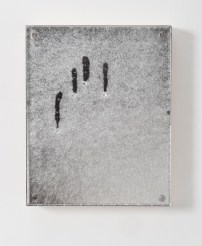 """Here, 8"""" x 10"""", mirror, magnets, and kiln-glass on board."""