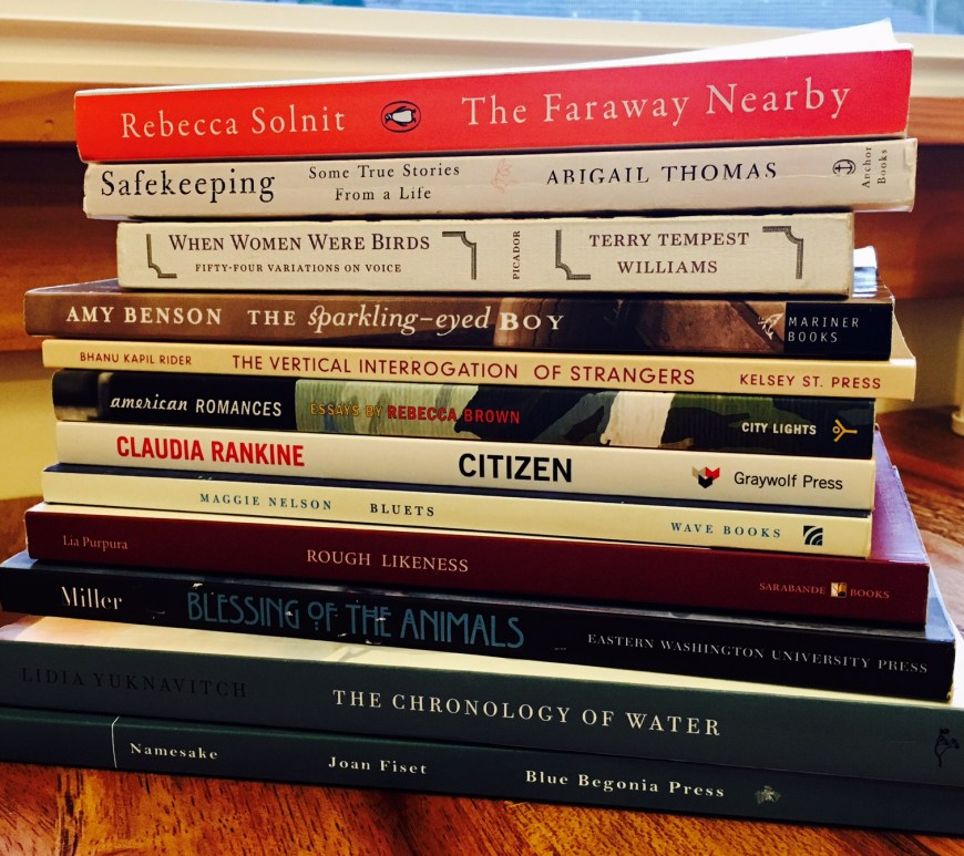 Memoirs of influence including Citizen by Claudia Rankine, The Chronology of Water by Lidia Yuknavitch, The Faraway Nearby by Rebecca Solnit, and Safekeeping by Abigail Thomas.
