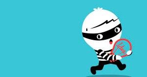 cartoon of burglar stealing an idea copyright