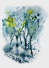 Foggy landscape. Watercolor painting