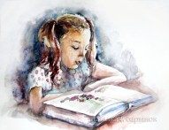 Girl with a book. Watercolor, paper