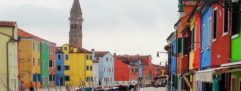Burano, canal, tower and houses