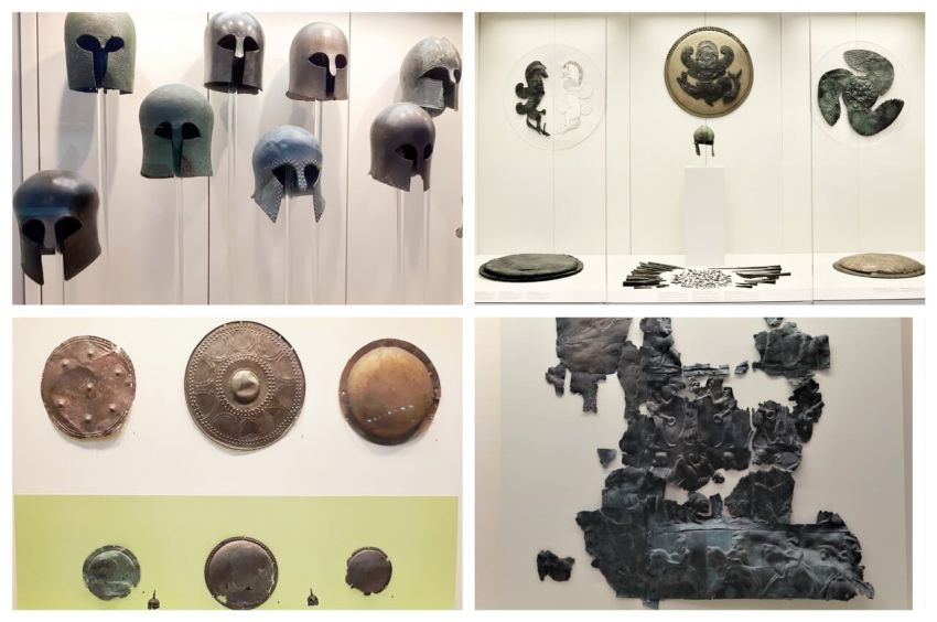 Helmuts and shields, Olympia Archeological Museum