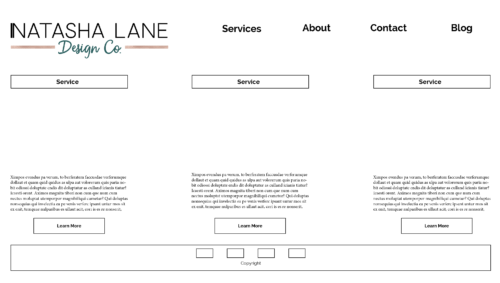 Prototype of the Service Page for Natasha Lane Design Co.